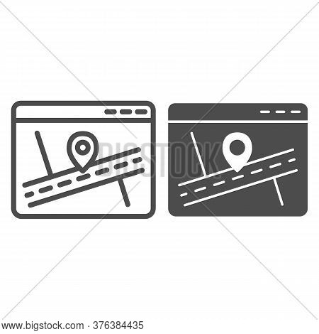 Web Page With Map And Location Pin Line And Solid Icon, Navigation Concept, Map Marker Pointer With