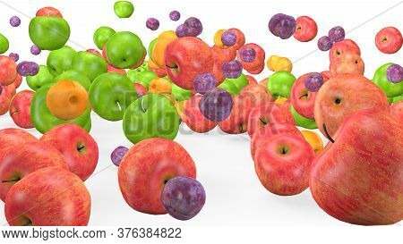 Fruit Mix, Animated Fruit Movement, 3d Rendering