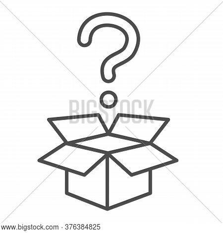 Question And Box Thin Line Icon, Delivery Concept, Carton Box With Question Mark Sign On White Backg