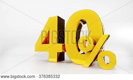40% Golden Symbol , 3d Render Symbol  White Background