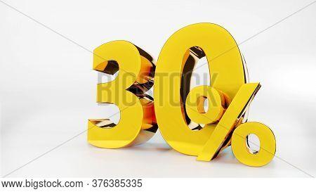 30% Golden Symbol , 3d Render Symbol  White Background