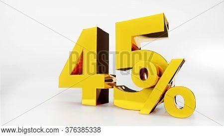 45% Golden Symbol , 3d Render Symbol  White Background