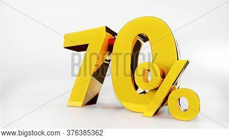 70% Golden Symbol , 3d Render Symbol  White Background