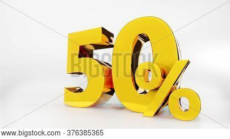 50% Golden Symbol , 3d Render Symbol  White Background