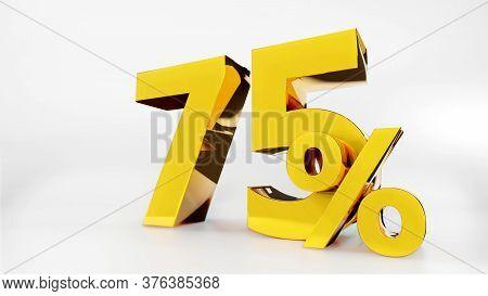 75% Golden Symbol , 3d Render Symbol  White Background