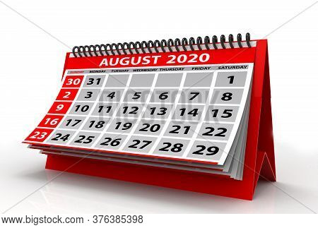 August 2020 Calendar Isolated On White Background. Spiral Calendar August 2020. 3d Illustration