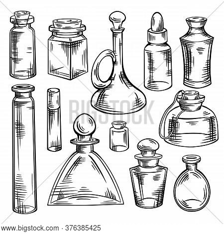 Contour Sketch Of Bottles, Flasks And Jars With Hatching. Containers For Perfumes And Medicines. Nat