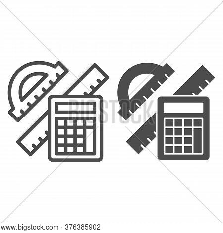 Protractor With Ruler And Calculator Line And Solid Icon, Mathematics Concept, School Supplies Sign