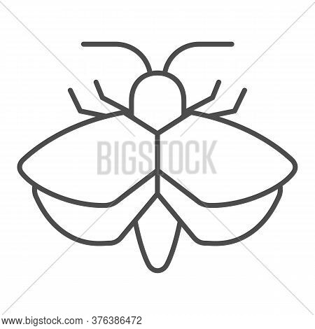 Moth Thin Line Icon, Insects Concept, Mole Sign On White Background, Moth Silhouette Icon In Outline