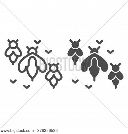 Bee Swarm Line And Solid Icon, Honey Concept, Honey Bees Sign On White Background, Colony Of Bees Ic