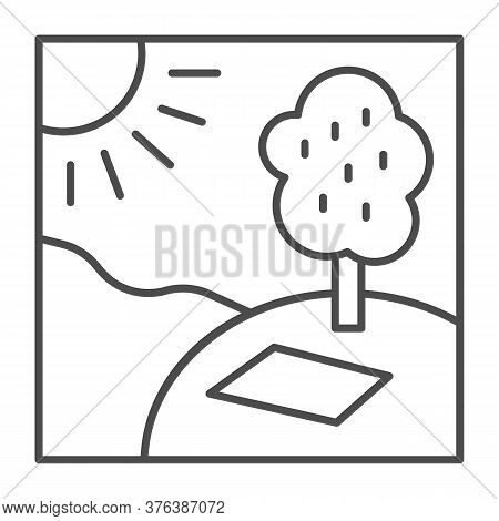 Picnic In Nature In Sunny Day Thin Line Icon, Summer Time Concept, Sunny Day In Park Sign On White B