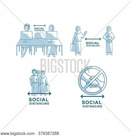 Social Distancing People Wearing Face Mask Vector