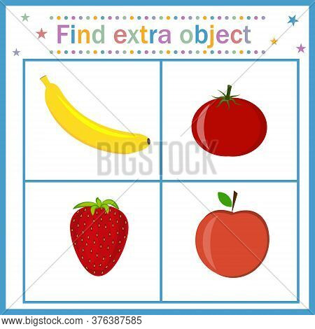 A Card For Children's Development, Find An Extra Object Where Fruits And Berries Are Shown In Red An