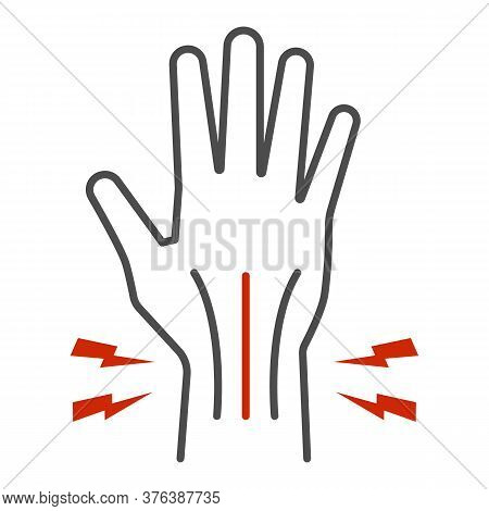 Pain In Hand Thin Line Icon, Body Pain Concept, Injury In Hand Joint Sign On White Background, Human