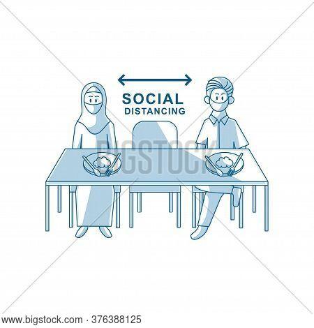 Restaurant Social Distancing People Sitting Eating Food