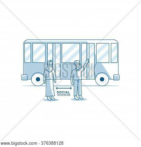 Social Distancing People Wearing Medical Masks At Bus Stop