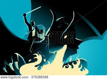 Business Concept Illustration Of A Businessman Riding A Dragon. Conquering Adversity, Courage, Victo