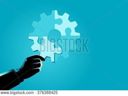 Business Concept Illustration Of Businessman Hand Holding The Final Piece Of Puzzle Which Forming A