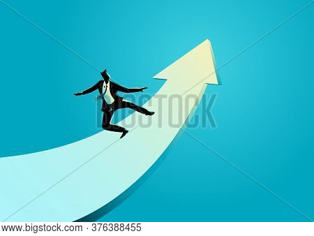 Business Concept Illustration Of A Businessman Surfing On The Rising Arrow