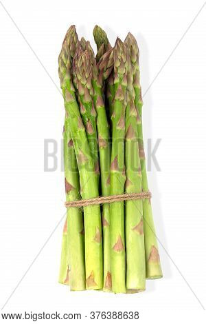 Fresh Green Asparagus Bunch Isolated On White