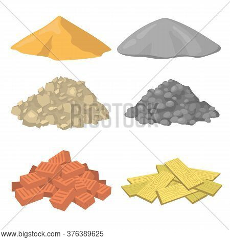 Various Construction Material Piles Flat Icon Set. Crushed Stones, Gypsum, Sand, Bricks And Wooden P