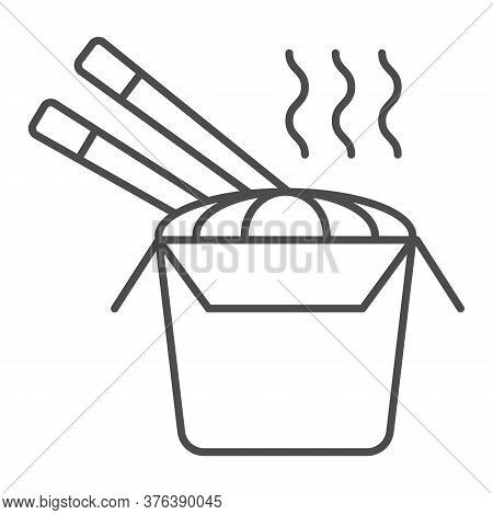 Noodles Thin Line Icon, Street Food Concept, Noodles Cup Sign On White Background, Chinese Noodles I