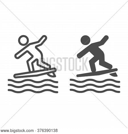 Surfing Line And Solid Icon, Summer Water Sport Concept, Surfer And Waves Sign On White Background,