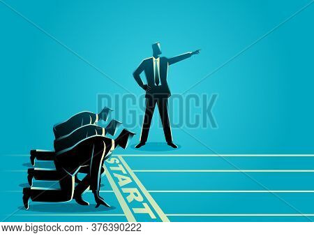 Business Concept Illustration Of A Businessman With Pointed Hand Ordering His Subordinate To Start R