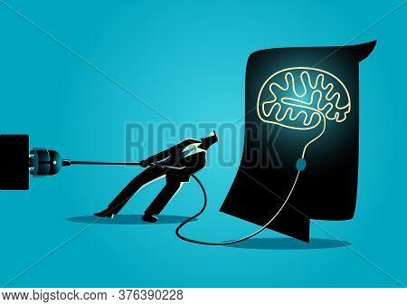 Business Concept Illustration Of A Businessman Trying To Unplug The Brain, Sabotage, Killing Creativ