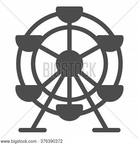 Ferris Wheel Solid Icon, Amusement Park Concept, Fairground Ride Sign On White Background, Ferris Wh