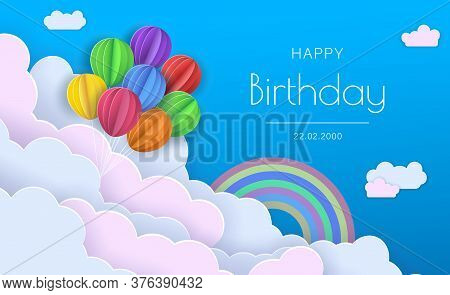 Origami Happy Birthday Greeting card.Flying Paper cut balloons.  Happy birthday illustration, Happy birthday banner, Happy birthday background, Happy birthday card. Colorful decoration for party, celebration, banner, card, gift. Vector Illustration.