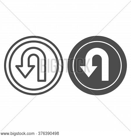 U-turn Traffic Sign Line And Solid Icon, Navigation Concept Road Sign With Turn Symbol On White Back