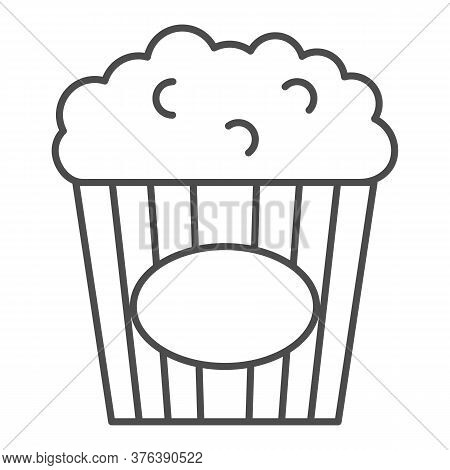 Popcorn Thin Line Icon, Street Food Concept, Popcorn In Striped Tub Sign On White Background, Popcor
