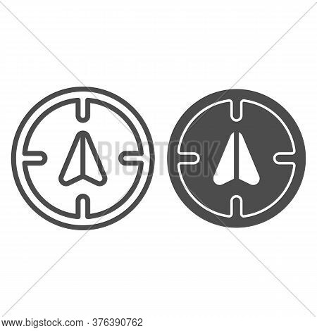 Arrow Gps With Target Line And Solid Icon, Navigation Concept, Position Sign On White Background, Gp