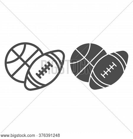 Basketball And Soccer Ball Line And Solid Icon, Sports Concept, Sport Balls Sign On White Background