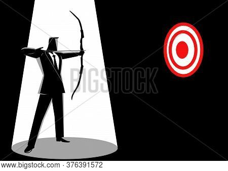 Concept Illustration Of A Businessman Aiming A Red Target With Arrow