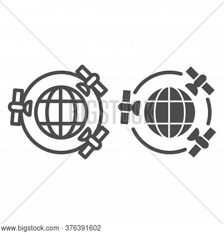 Planet With Gps Satellites Line And Solid Icon, Navigation Concept, Three Satellites Orbiting Earth