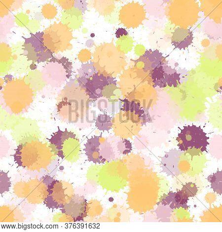 Paint Transparent Stains Vector Seamless Wallpaper Pattern. Mottled Ink Splatter, Spray Blots, Mud S