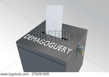 3d Illustration Of Demagoguery Title On Ballot Box, Isolated Over Brown Gradient.