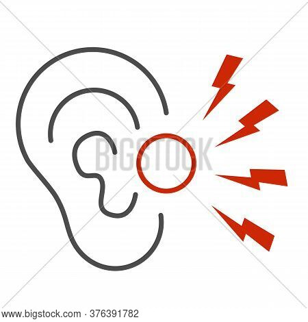 Ear Pain Thin Line Icon, Illness And Injury Concept, Earache Sign On White Background, Ear Inflammat
