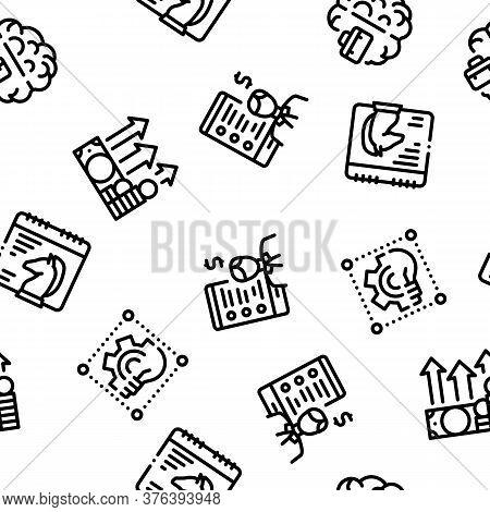 Entrepreneur Business Seamless Pattern Vector Thin Line. Illustrations