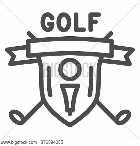 Golf Logo With Golfball And Crossed Sticks Line Icon, Sport Concept, Golf Club Emblem Sign On White