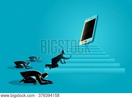 Concept Illustration Of Men Worshiping A Gadget Or Smart Phone