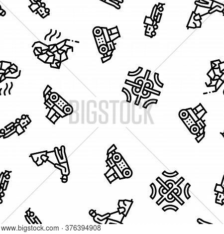 Road Repair And Construction Seamless Pattern Vector Thin Line. Illustrations