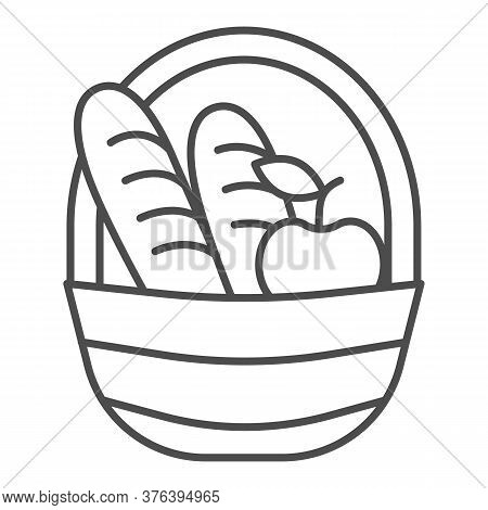 Basket With Loaves And Apple Thin Line Icon, Food Concept, Picnic Basket Full Of Delicious Fruits An