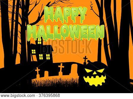 Graphic Illustration Of A Scary House And Cemetery In The Woods, For Halloween Theme Or Background