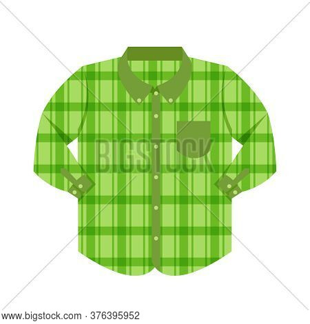 Plaid Shirt Clothes Green Isolated On White, Clothes Pattern Plaid, Clip Art Of Clothing Chequered L