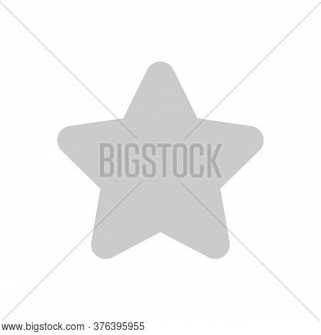 Grey Star Simple Shape Isolated On White, One Star Cute Gray Color Sign, 1 Star Icon For Clip Art