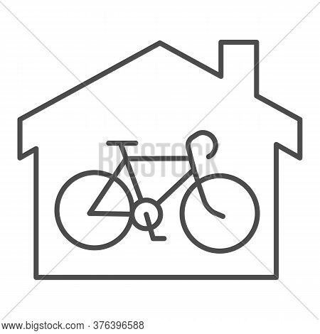 Bicycle In House Thin Line Icon, Outdoor Sport Concept, Bicycle Inside Home Building Sign On White B