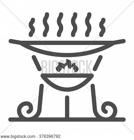 Barbecue Brazier Line Icon, Bbq Concept, Grill Sign On White Background, Outdoor Grill For Camping I